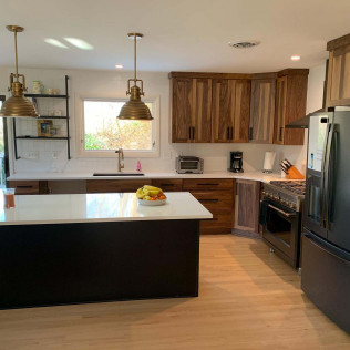 New Kitchen with Natural Wood & Gold Hardware